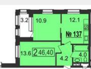 МФК «Nord», планировка 2-комнатной квартиры, 46.40 м²