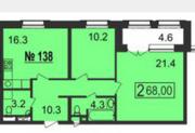МФК «Nord», планировка 2-комнатной квартиры, 68.00 м²