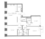 МФК «ORDYNKA by BOSCO Casa», планировка квартиры со свободной планировкой, 123.75 м²