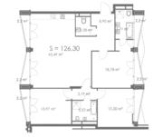 МФК «ORDYNKA by BOSCO Casa», планировка квартиры со свободной планировкой, 126.30 м²