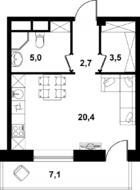 МФК «Клубный дом на Менжинского», планировка студии, 31.60 м²