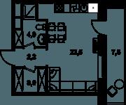 МФК «Клубный дом на Менжинского», планировка студии, 31.70 м²