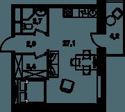 МФК «Клубный дом на Менжинского», планировка студии, 35.20 м²