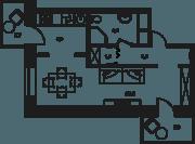 МФК «Клубный дом на Менжинского», планировка 1-комнатной квартиры, 37.00 м²