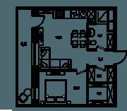 МФК «Клубный дом на Менжинского», планировка 2-комнатной квартиры, 41.70 м²