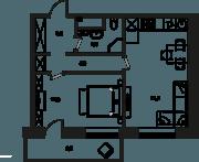 МФК «Клубный дом на Менжинского», планировка 2-комнатной квартиры, 47.00 м²