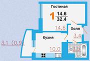 ЖК «Город Счастья», планировка квартиры со свободной планировкой, 32.40 м²