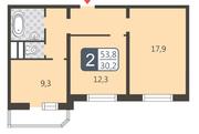 ЖК «Мой адрес на Дмитровском, 169», планировка 2-комнатной квартиры, 53.80 м²