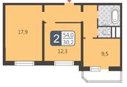 ЖК «Мой адрес на Дмитровском, 169», планировка 2-комнатной квартиры, 54.00 м²