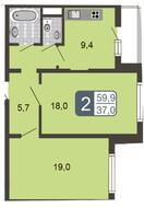 ЖК «Мой адрес на Дмитровском, 169», планировка 2-комнатной квартиры, 59.90 м²