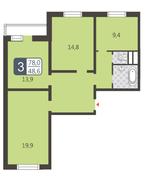 ЖК «Мой адрес на Дмитровском, 169», планировка 3-комнатной квартиры, 78.00 м²