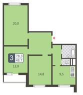 ЖК «Мой адрес на Дмитровском, 169», планировка 3-комнатной квартиры, 78.30 м²