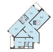 ЖК «Мой адрес на Дмитровском, 169», планировка 3-комнатной квартиры, 92.30 м²