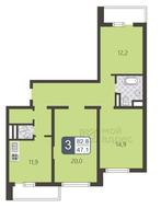 ЖК «Мой адрес на Дмитровском, 169», планировка 3-комнатной квартиры, 82.80 м²