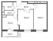 ЖК «Счастье в Садовниках», планировка 2-комнатной квартиры, 61.40 м²