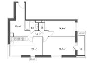 ЖК «Счастье в Садовниках», планировка 2-комнатной квартиры, 73.00 м²
