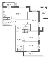 ЖК «Счастье в Садовниках», планировка 4-комнатной квартиры, 125.80 м²