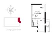 ЖК «Свой», планировка студии, 36.50 м²