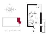 ЖК «Свой», планировка студии, 36.10 м²