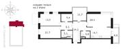 ЖК «Свой», планировка 4-комнатной квартиры, 113.80 м²