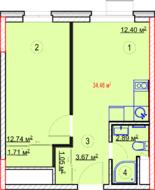 МФК «Nova Алексеевская», планировка 1-комнатной квартиры, 34.46 м²