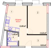 МФК «Nova Алексеевская», планировка 1-комнатной квартиры, 40.63 м²