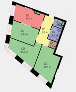 ЖК «Wellton Towers», планировка 3-комнатной квартиры, 79.40 м²