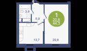 ЖК «Опалиха-Village», планировка 1-комнатной квартиры, 44.30 м²