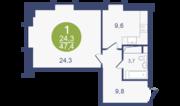 ЖК «Опалиха-Village», планировка 1-комнатной квартиры, 47.40 м²