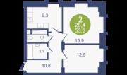 ЖК «Опалиха-Village», планировка 2-комнатной квартиры, 53.30 м²