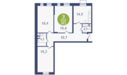 ЖК «Опалиха-Village», планировка 3-комнатной квартиры, 98.50 м²