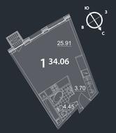 МФК «Nakhimov», планировка студии, 34.06 м²