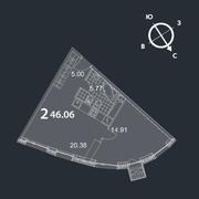 МФК «Nakhimov», планировка 2-комнатной квартиры, 46.06 м²