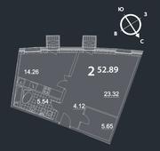 МФК «Nakhimov», планировка 2-комнатной квартиры, 52.89 м²