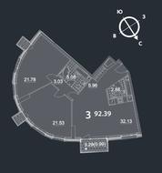 МФК «Nakhimov», планировка 3-комнатной квартиры, 92.39 м²