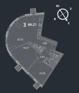 МФК «Nakhimov», планировка 3-комнатной квартиры, 86.21 м²