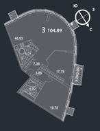 МФК «Nakhimov», планировка 3-комнатной квартиры, 104.89 м²