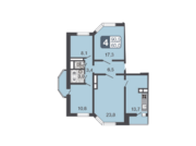 ЖК «Мой адрес в Некрасовке», планировка 3-комнатной квартиры, 72.60 м²