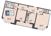 ЖК «Мой адрес в Некрасовке», планировка 4-комнатной квартиры, 87.90 м²