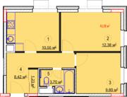 МФК «Nova Алексеевская», планировка 2-комнатной квартиры, 45.88 м²