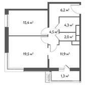 ЖК «Счастье в Садовниках», планировка 2-комнатной квартиры, 65.10 м²