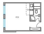 ЖК «Москвичка», планировка студии, 25.14 м²