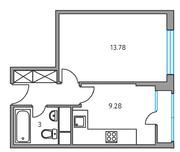 ЖК «Москвичка», планировка 1-комнатной квартиры, 31.18 м²