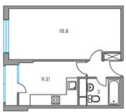 ЖК «Москвичка», планировка 1-комнатной квартиры, 35.18 м²