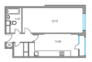 ЖК «Москвичка», планировка 1-комнатной квартиры, 46.34 м²
