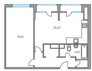 ЖК «Москвичка», планировка 1-комнатной квартиры, 55.51 м²