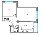 ЖК «Москвичка», планировка 2-комнатной квартиры, 45.27 м²