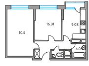 ЖК «Москвичка», планировка 2-комнатной квартиры, 46.96 м²