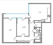 ЖК «Москвичка», планировка 2-комнатной квартиры, 74.46 м²