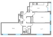ЖК «Москвичка», планировка 3-комнатной квартиры, 82.31 м²